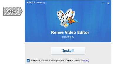 الأول- تثبيت محرر فيديو Renee