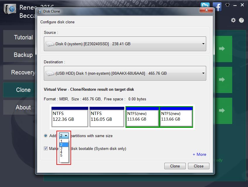 disk clone setting