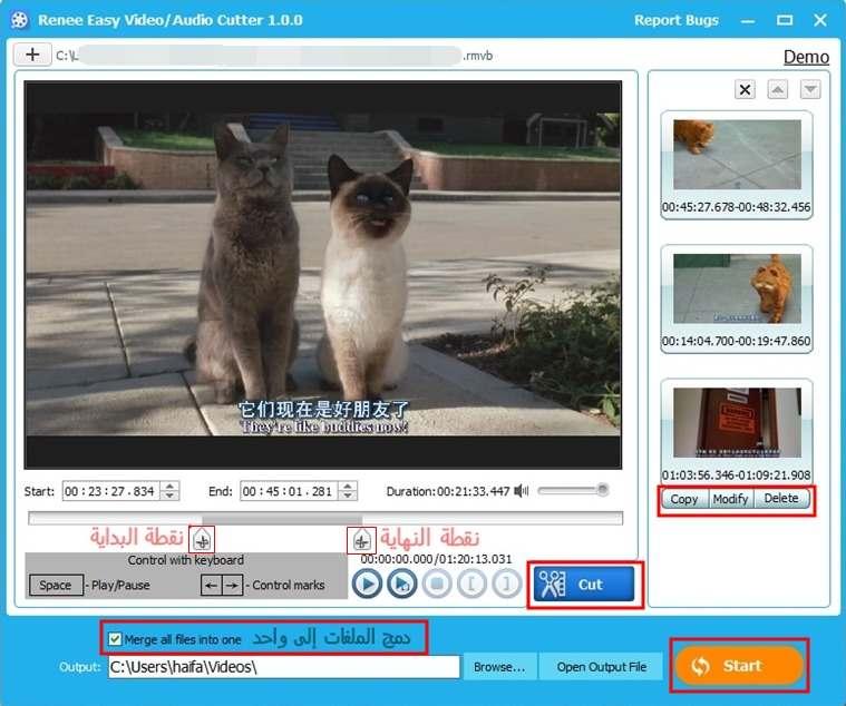 صورة تقطيع الفيديو في البرنامج