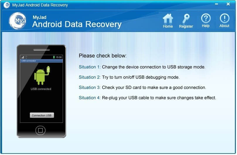 واجهة myjad android data recovery