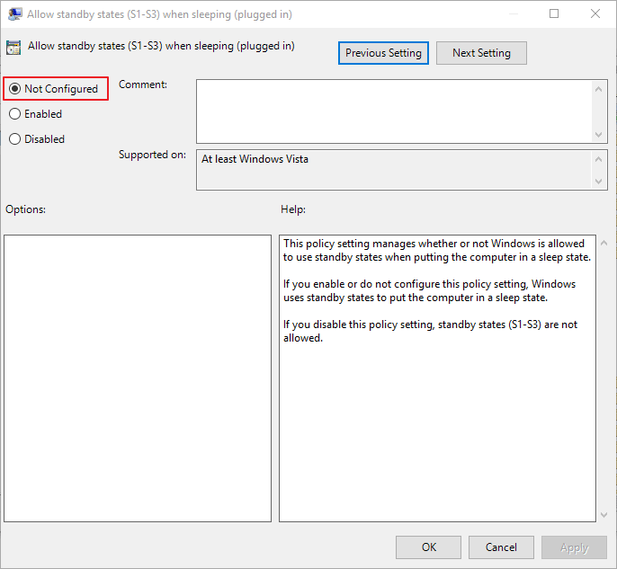allow standby states-plugged in-min