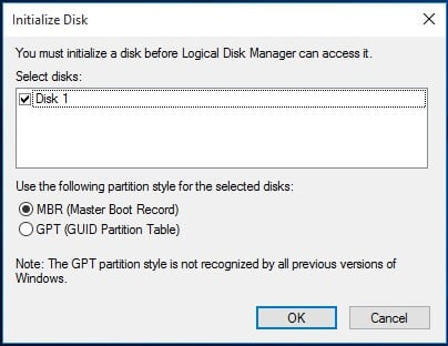 disk unknown not initialized 3
