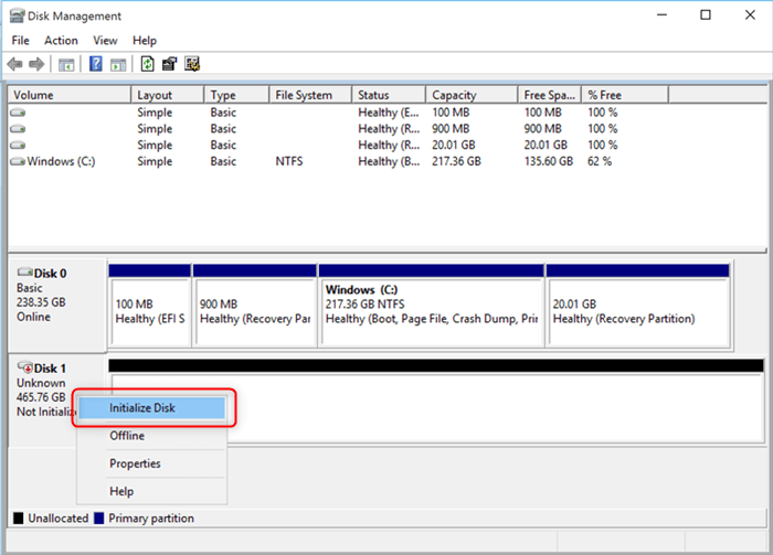 initialize disk2 min