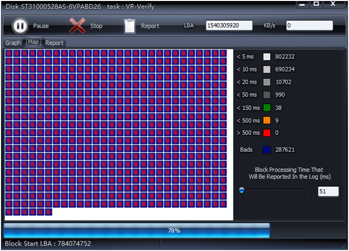 قطاع تالف في HDD Scan