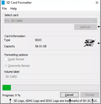 formatting memory card in sd card formatter