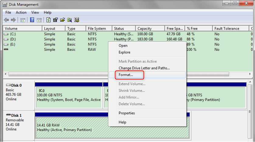 format raw disk