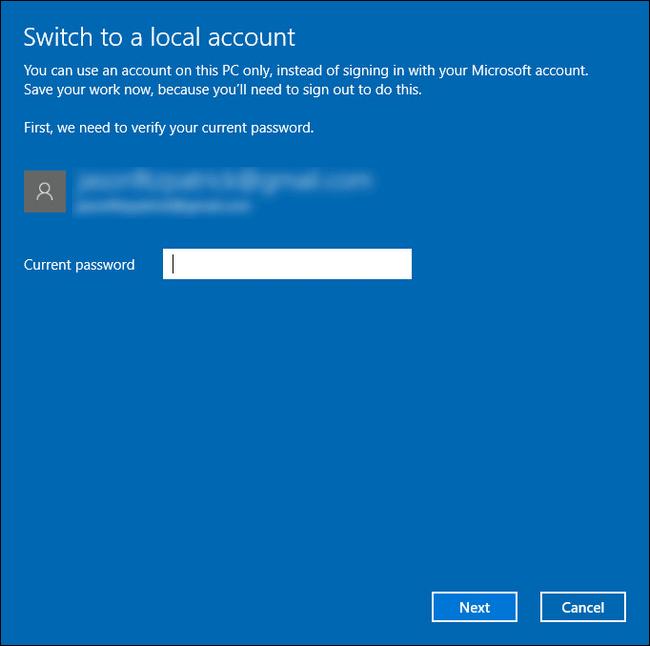 أدخل كلمة المرور لحساب مايكروسوفت لتحويله إلى حساب محلي