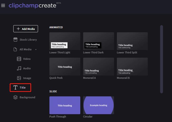 إضافة العنوان في ClipChamp create