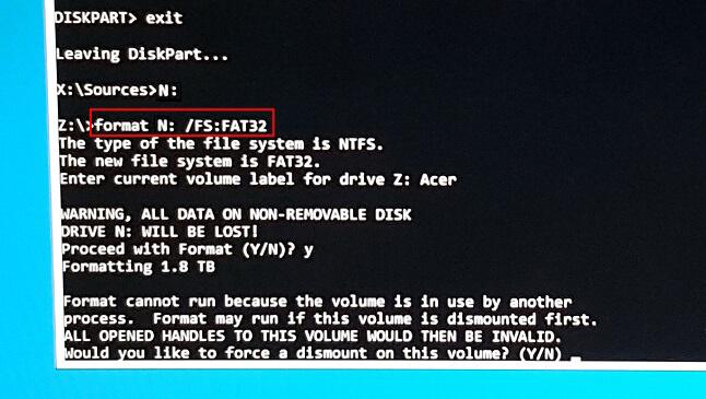 إعادة إنشاء قسم النظام EFI في diskpart