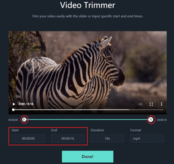 تعيين وقت البدء والنهاية في filmora free online video trimmer