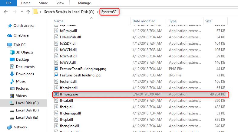 وضع تطبيق ffmpeg إلى system 32