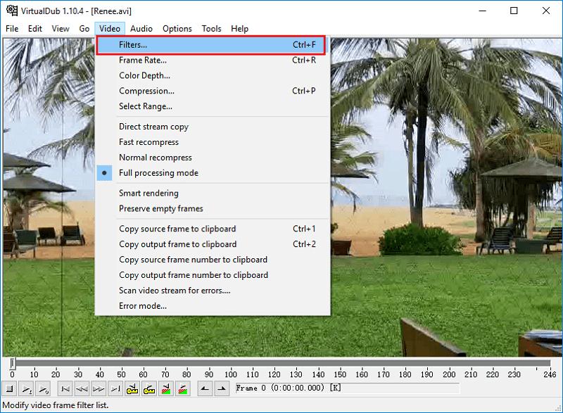 حدد filter في VirtualDub
