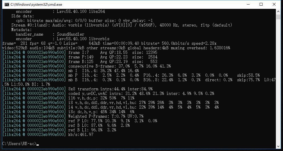 تحويل mp4 الى mkv بواسطة ffmpeg2