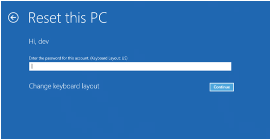enter-password-for-the-account reset pc