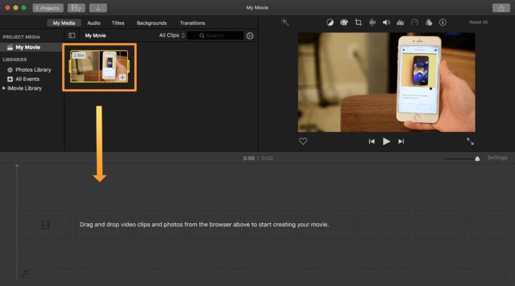 اسحب الفيديو إلى الخط الزمني لـ iMovie