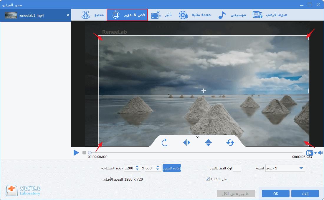 اقتصاص الفيديو لإزالة العلامة المائية في أدوات الفيديو