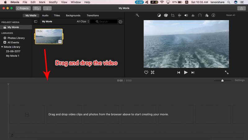 سحب وإسقاط الفيديو إلى imovie