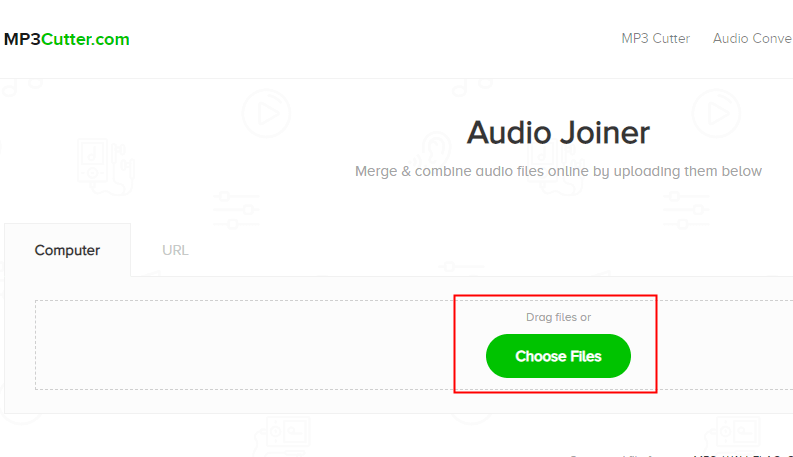 اختيار الملفات في audio joiner