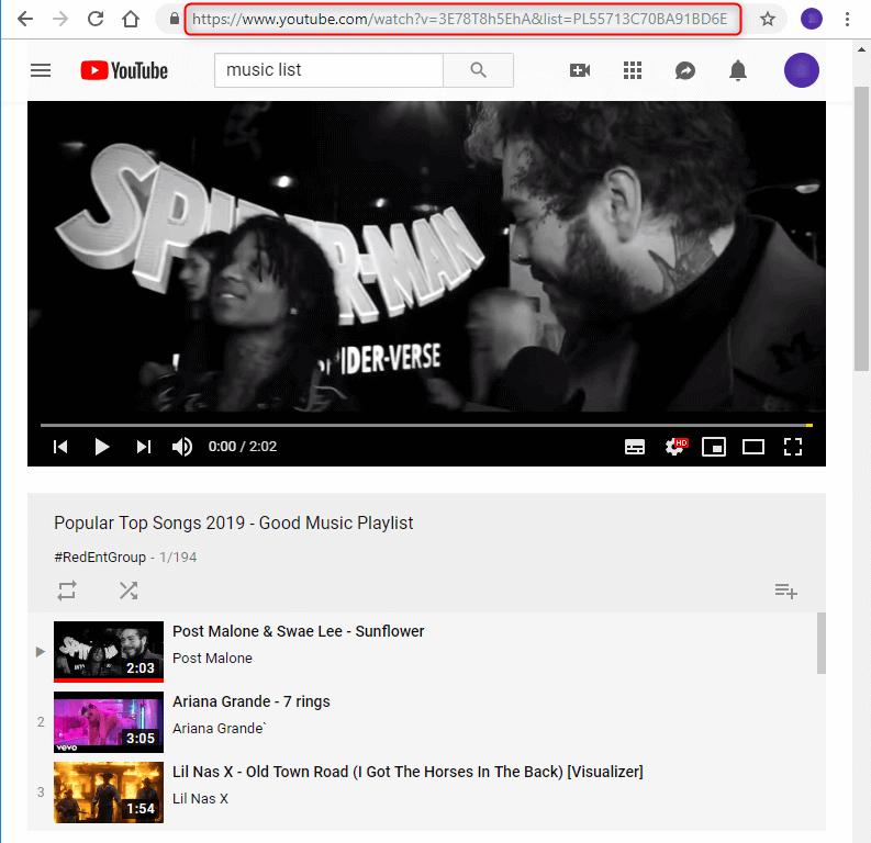 نسخة رابط يوتيوب قائمة التشغيل
