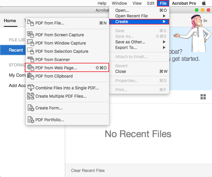 إنشاء PDF من صفحة الويب في Acrobat Pro