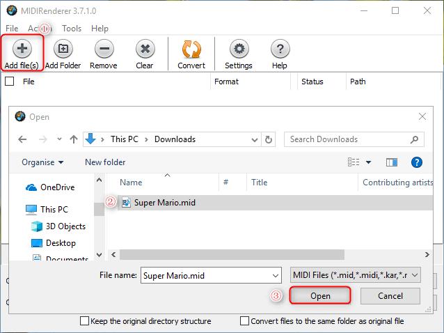 إضافة ملفات إلى midirenderer