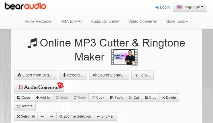 قص الموسيقى عبر bear audio editor