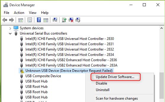 تحديث برنامج التشغيل لجهاز USB غير معروف