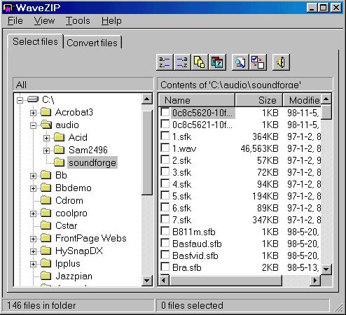 ضغط ملفات الصوت عبر wavezip