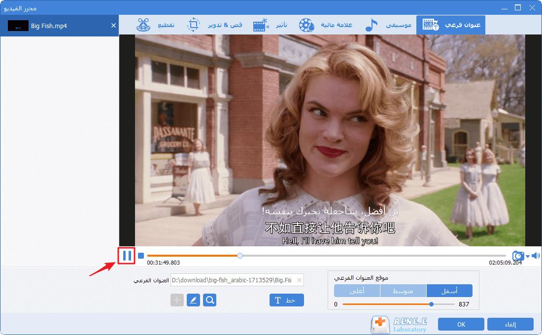 تحقق من العنوان الفرعي في Video Toolbox