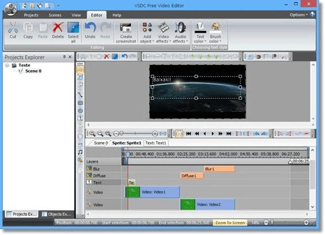 برنامج تقليم الفيديو vsdc free video editor