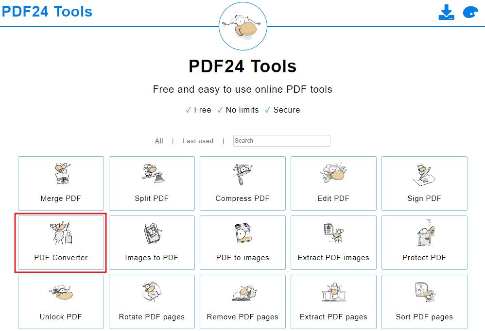 وظيفة محول pdf في موقع أدوات PDF24